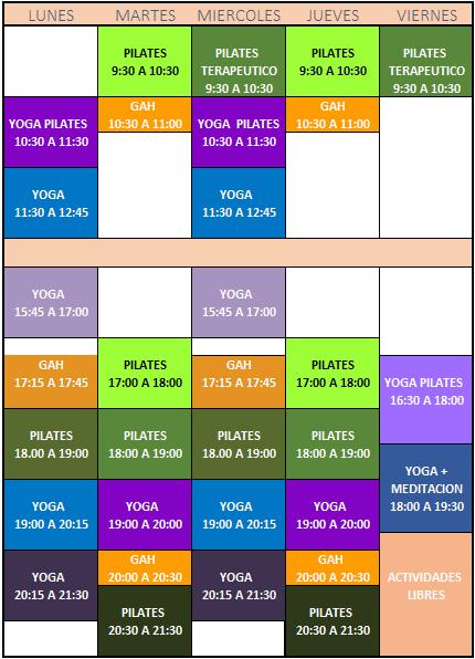 Horarios de pilates, yoga e hipopresivos